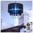 etc-shop LED Pendelleuchte, Hängeleuchten Esszimmerleuchten Kristall Pendellampe Wohnzimmer Lampen Decke hängend, Garn, Fernbedienung Farbwechsel