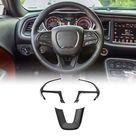JeCar Steering Wheel Cover Interior Decoration Trim Kits for 2015-2019 Dodge Challenger & 2014-2019 Dodge Durango& 2014-2019 Grand Cherokee SRT8 - Black
