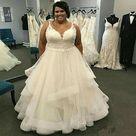 eBay Plus Size Wedding Dresses Appliques Lace Spaghetti Straps Ruffles Tulle Skirt