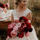 Red and Rosé Romantic Fall Colors with Rustic Garden Style