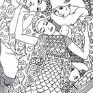 Anti-stress kleurplaten Gustav Klimt : Maagd 5