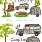 Camping watercolor clipart, Summer travel PNG clipart. (1383604)   Illustrations   Design Bundles