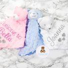Personalised Baby Comforter, Teddy Bear or Bunny Comforter, Animal Blanket, Baby Boy Blanket, Baby Girl Comfort Blanket, Pink, White, Blue