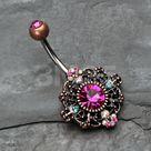 Vintage Boho Filigree Flower Belly Button Ring - Copper/Fuchsia/Aurora Borealis