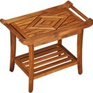 NEW!! Teak Luxury Shower Bench Stool Seat with Leveling Feet, Teak Oil Finish, Large, 19
