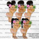 Aloha Island Girl Tropical Pink Hibiscus Pineapple Hawaiian Luau | Baby Girl Babies of Color Braids | Clipart Instant Download