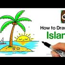 How to Draw an Island with a Coconut Tree Easy