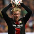 Julian Brandt of Bayer 04 Leverkusen takes a throw-in during the...