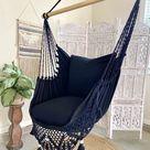 Black Macrame Crochet Hammock Chair + 2 Pillow Set LUCIA