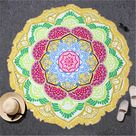 Mandala Bohemian Yoga Mat - Green Yellow Edge / Diameter 150cm