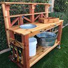 Outdoor Garden Potting Bench, Wooden Workstation Table w/Cabinet Drawer, Open Shelf, Lower Storage, Lattice Back - Natural