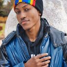 YAA UNISEX BEANIE WITH AFRICAN PRINT TRIMMING