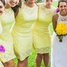 Soft yellow dress, worn only once Pale yellow lace dress with satin underlay. It was purchased from Macy's and worn only for a wedding. It's a beautiful dress but it's just not my style. It s a size ten that has been altered to fit me, a size 8. Gorgeous