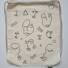 Artist tote ~ Faces - clearance item.