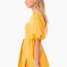 Canary Yellow Taffeta Mini Dress