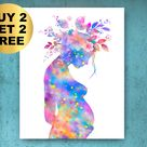 Floral Pregnancy Anatomy Art Pregnant Woman Print Baby Shower Decor Obstetrician Gift Gynecologist Gift Mother Gift Midwife Gift Doctor Art