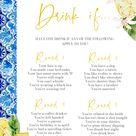 Lemon Blue Tile Mediterranean Positano Drink if Bridal Shower Games Blue Tile Bridal Shower Games