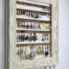 Cream Wall Mount Jewelry Organizer, Framed Earring Hanger, Hanging Jewelry Organizer, Wall Ea... #upcycling-top-ideen
