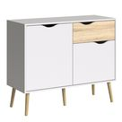 Sideboard - Small - 1 Drawer 2 Doors in White and Oak