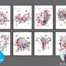 Pregnancy Watercolor Prints Gynecology Art Floral Fetus in Womb  Baby Shower Decor Pregnant Woman Gi