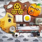 Wild animal busy board,  natural wooden toys, montessori baby toys, toddler boy toys, fidget sensory toys, toddler busy board