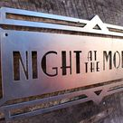 Night at The Movies Art Deco Marquee Sign - Vintage Metal Cinema Decor - Home Theater Wall Art - Movie Room - Retro Film Art - Free Shipping - 20 x 15.5 / Indoor Flat Clear