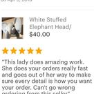 Stuffed White Elephant Head / Stuffed Elephant Mount / Stuffed Animal head / Faux animal head / Best Baby Shower gifts