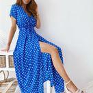 Bedruckte Polka Dot Long Dress Damenbekleidung - Blau / XL