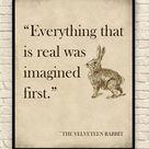 Velveteen Rabbit Wall Art, Velveteen Rabbit Art Print, Margery Williams, Kids Bedroom Art, Classic Children's Books, Velveteen Rabbit Quote.
