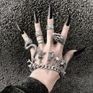 4 Piece Unique Retro Ring Heavy Metal Ring Dark Gothic Ring Street hip-hop Ring Horror Python Ring Punk Ring Silver Ring Set Snake Ring Set