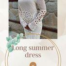 Crochet long sleeve dress for women, Boho style handmade tunic dress, V neck cotton dress