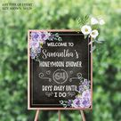 """Bridal Shower Welcome Sign Floral ,Honeymoon Shower Chalkboard Poster,Wedding Poster,Wedding Chalkboard,Printed Or Printable File SWBR002 - GLOSSY PAPER 24x36"""""""
