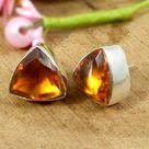 925 Sterling Silver Dark Citrine 12x12mm Trillion Faceted Gemstone Stud Earrings Jewelry