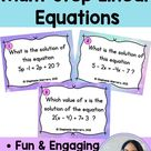 Solving Multi-Step Linear Equations Task Cards Digital Self Checking and Print