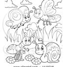 Clipart Outlined Butterfly Dragonfly Ant And Snail - Royalty Free Vector Illustration by visekart #1110718