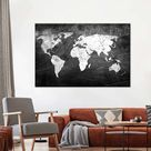 Iron Impression World Map Multi Panel Canvas Wall Art