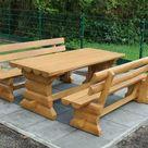 Holzgarnitur, Gartengarnitur, Gartenmöbel aus Massivholz,