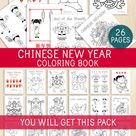 Chinese New Year Coloring Book, 26 Pages, Lunar New Year Coloring Sheets, Spring Festival, Ox