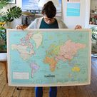 XL World Map Poster 2021 Detailed vintage planisphere style (French)