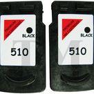 2 X PG510 Schwarz Wiederaufbereitetes Druckerpatronen für Canon Pixma MP480