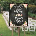 """Floral Wedding Welcome Sign, Garden Party Chalkboard Poster, Wedding Poster, Wedding Chalkboard, Printed Or Printable File - GLOSSY PAPER 16x20"""""""