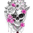 skull mandala flower tattoo design
