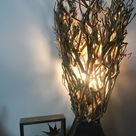 Rustic Farmhouse Driftwood Table Lamp Natural 1-Light Tree Twig Lamp with Wooden Base
