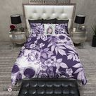 White on PurplePrint Flower and Skull Bedding Collection - Twin / XL Twin Duvet Cover ONLY / [Value] White Poly Backside [$]