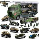 26 Pcs Military Truck with Soldier Men Set(2 in 1), Mini Die-cast Battle Car in Carrier Truck, Army Toy Double Side Transport Vehicle for Kid Child Girl Boy Play Birthday Party Favors - Default