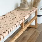Woven Leather Bench - Natural