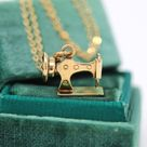 Sewing Machine Charm - Retro 14k Yellow Gold Figural Seamstress or Tailor Pendant Necklace - Circa 1960s Era Fine Jewelry With Moving Parts