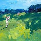 Golf Painting on Canvas, Original Art, Landscape Painting, Country Painting, Impressionist Art, Living Room Wall Art, Large Art, Golf Gifts