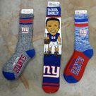 3 Pair - NFL New York Giants Socks Gift Set Socks Marbled Retro Stripe Deuce Saquon Barkley - Red Blue White Gray - Large Fits 10-13