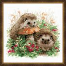 Cross stitch embroidery kit - Hedgehogs in Lingonberries (Cowberries, Foxberries) Russian Manufacturer Riolis